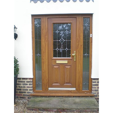 170 - Wood Grain Effect UPVc Door With Side Lights