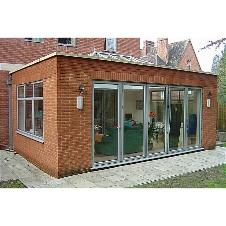 185 - Brick Built Extension with Glass Roof and 5 Door Bi folding doors