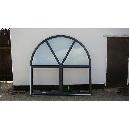 215 - Curved Aluminium Powder Coated Window
