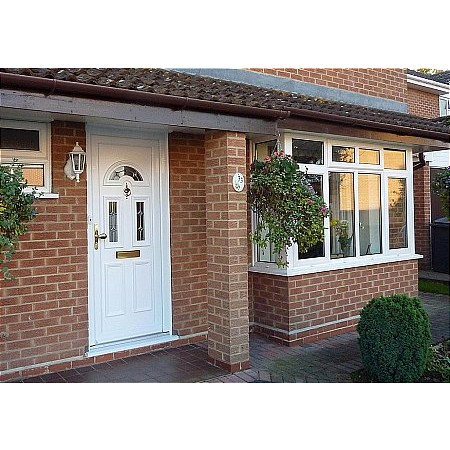 Britannia Windows - UPVC Door with Etched Glass  plus Raised Bevels